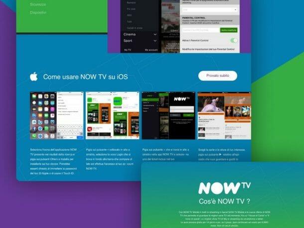 Now TV Sito Web Desktop