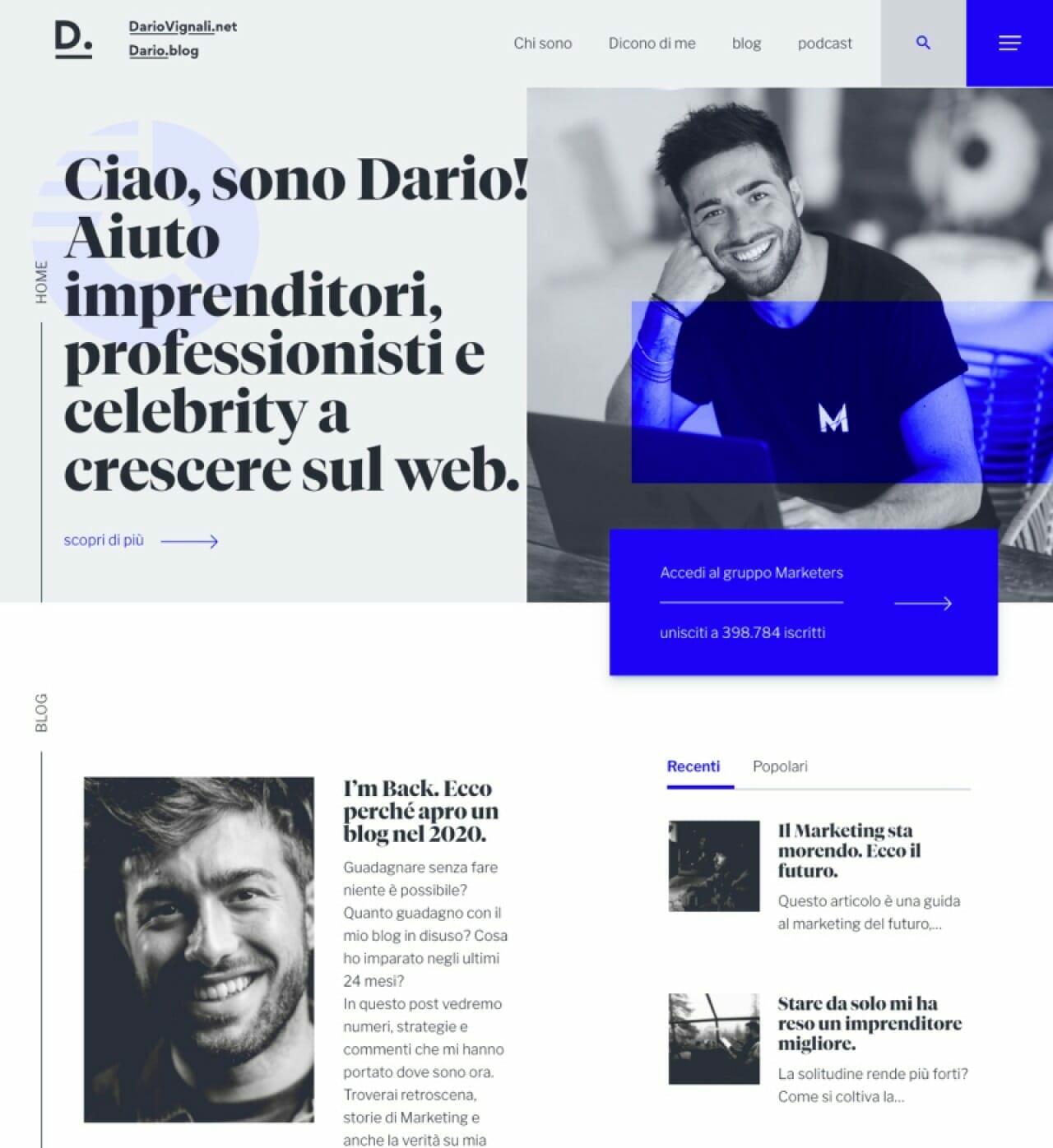 Dario Vignali Sito Web Panoramica Desktop