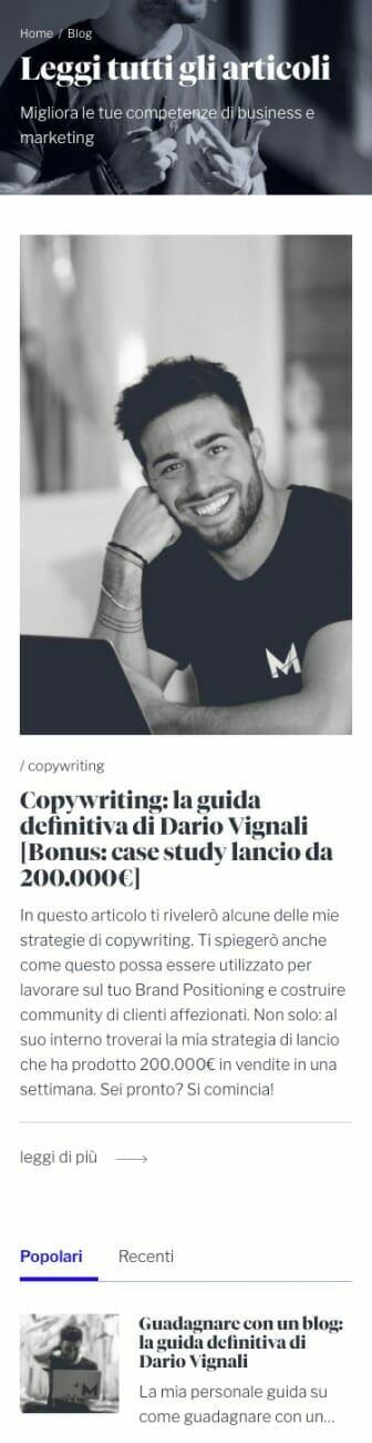 Dario Vignali Sito Web Panoramica Mobile 2