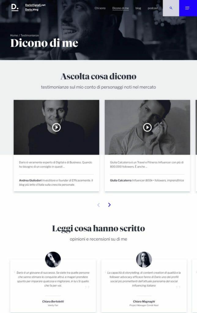Dario Vignali Sito Web Desktop 1
