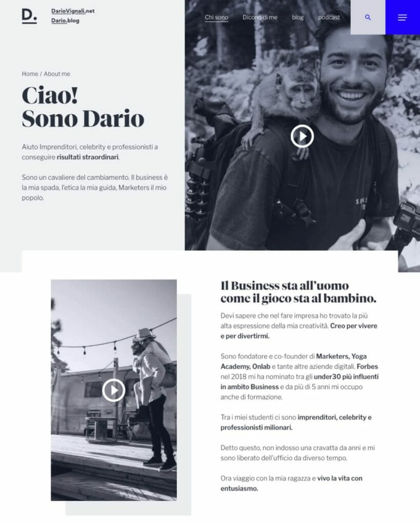 Dario Vignali Sito Web Desktop 2